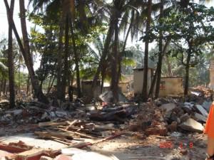 津波被害の村の様子
