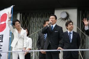 京都駅前で蓮舫参議院議員と街宣
